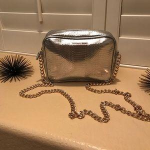 Victoria's Secret Silver Purse with Gold Chain
